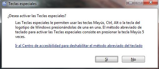 Activar las Teclas especiales en Windows 7