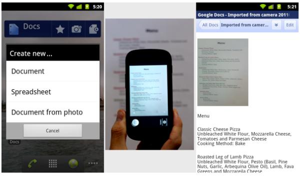 ya se puede descargar google docs la aplicación para android con